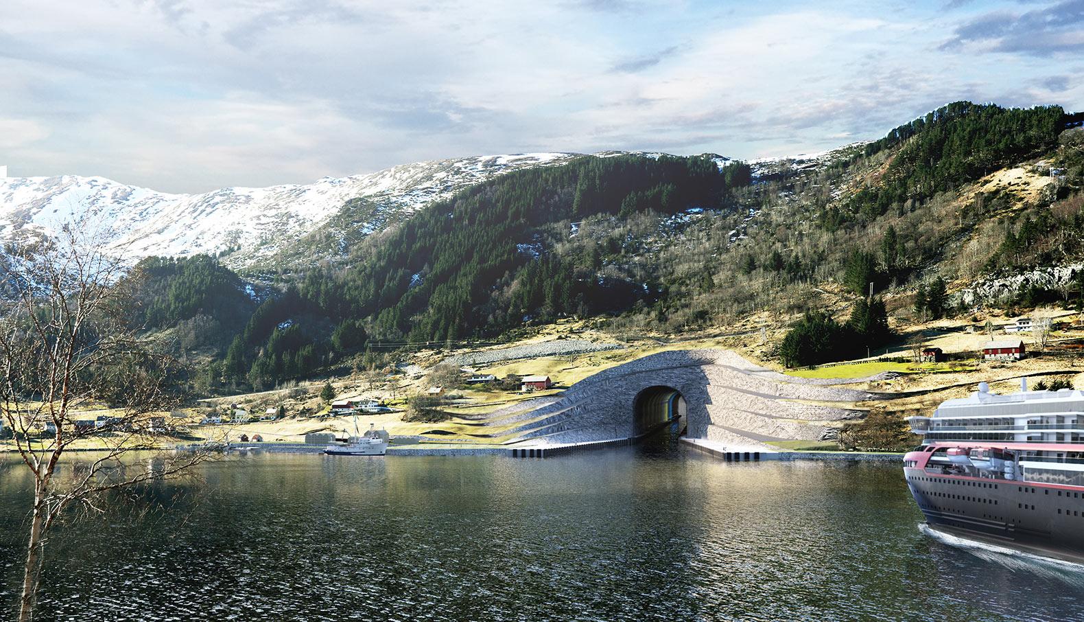 Судоходный тоннель внутри полуострова в Норвегии (4 фото)
