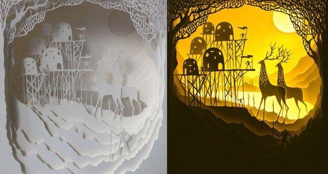Многослойные картины из бумаги, коробок и света.