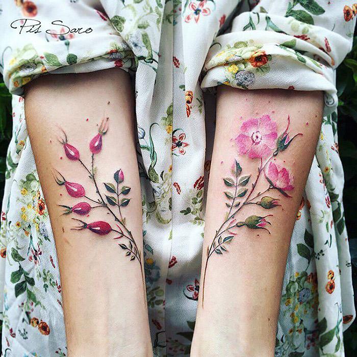 As tatuagens Botanicas de Pis Saro inspiradas nas mudancas das estacoes (15 pics)