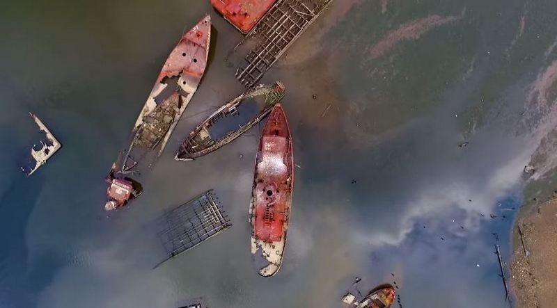 Красивое видео кладбища кораблей в Нью-Джерси