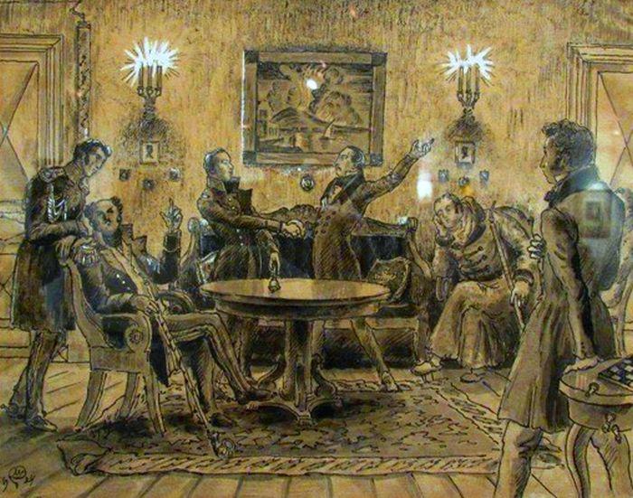 Пушкин и декабристы. Мстислав Добужинский, 1924 год