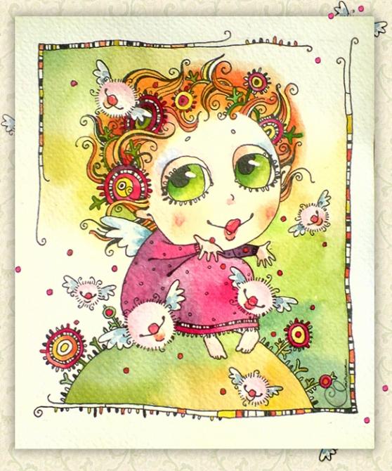 Открытки. 6 июля -день поцелуя! Девочка рассылает крылатые поцелуи открытки фото рисунки картинки поздравления