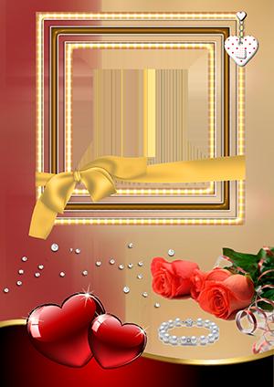 Фоторамка с букетом роз, красными сердечками и браслетом из жемчуга