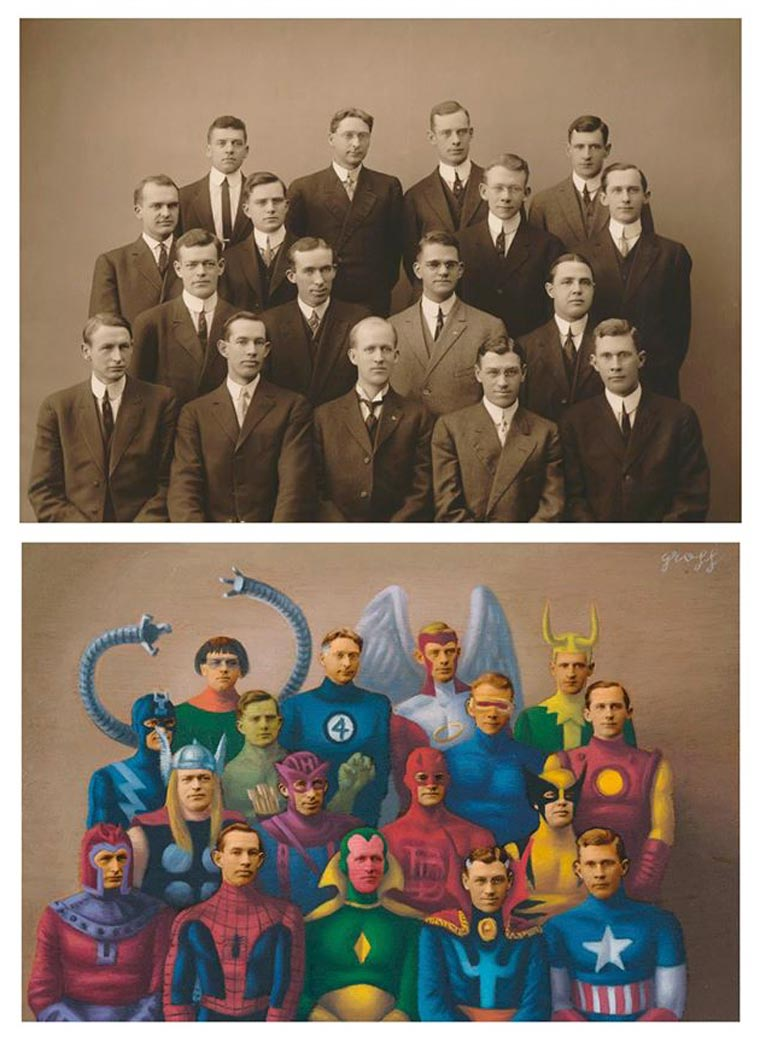 Vintage Heroes - When Alex Gross paints over old photographs
