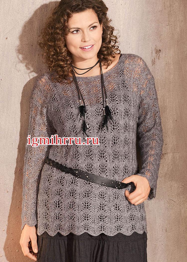 Мода Plus. Серебристо-серый ажурный пуловер. Вязание спицами