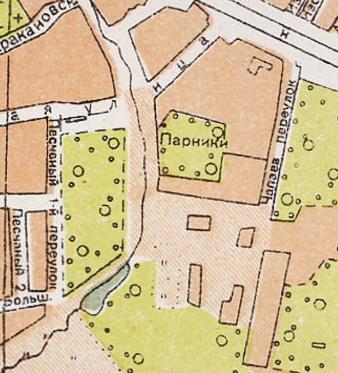 Московское Братское кладбище на карте 1936 года