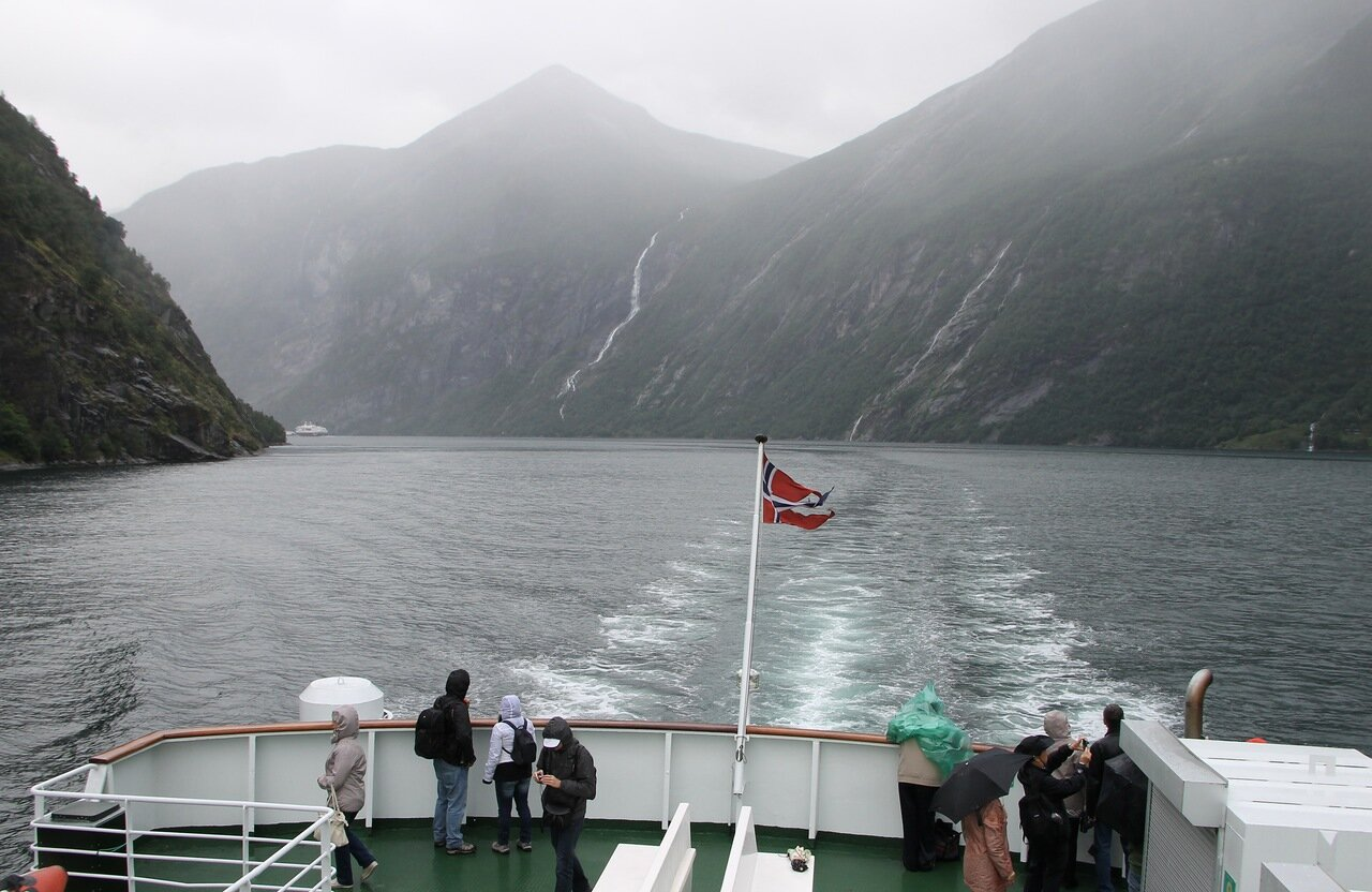 On the deck of the Geiranger-Hellesylt ferry