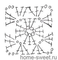 квадратный мотив крючком схема.