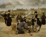 """Children with a Toy seller on the Quai du LouvreOil On Canvas66 x 81.2 cm(25.98"""" x 31.97"""")Private collection"""