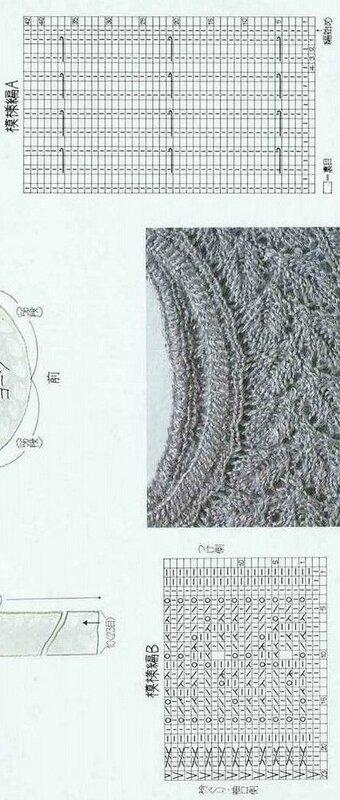Схема вязания пуловера с кокеткой из листиков