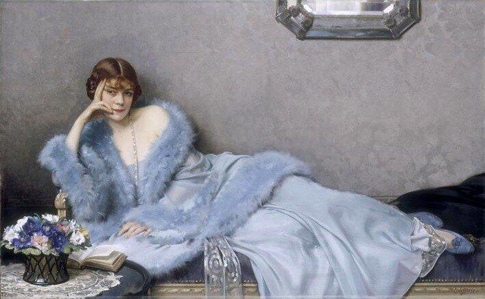 """Le Dame en Blue"" by Hubert-Denis Etcheverry (French, 1867-1950)"