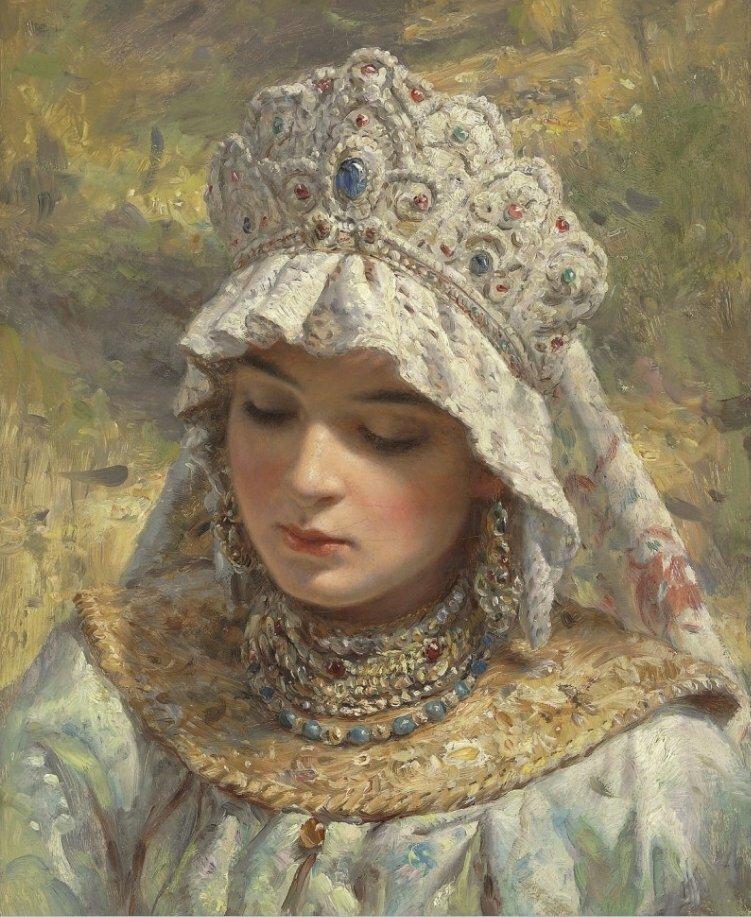Константин Егорович Маковский (1839-1915) «Русская красавица в кокошнике»