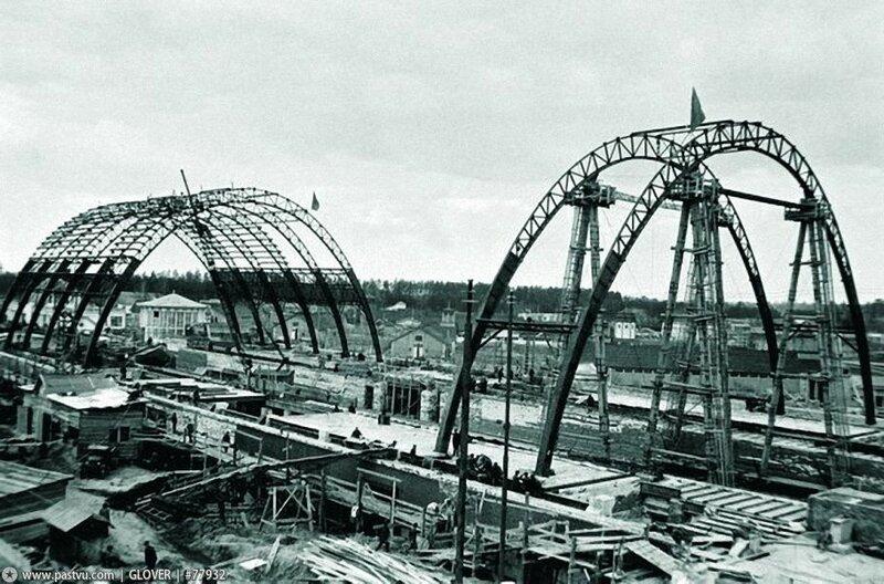 Строительство павильона Механизации и электрификации сельского хозяйства СССР, 1938 г.