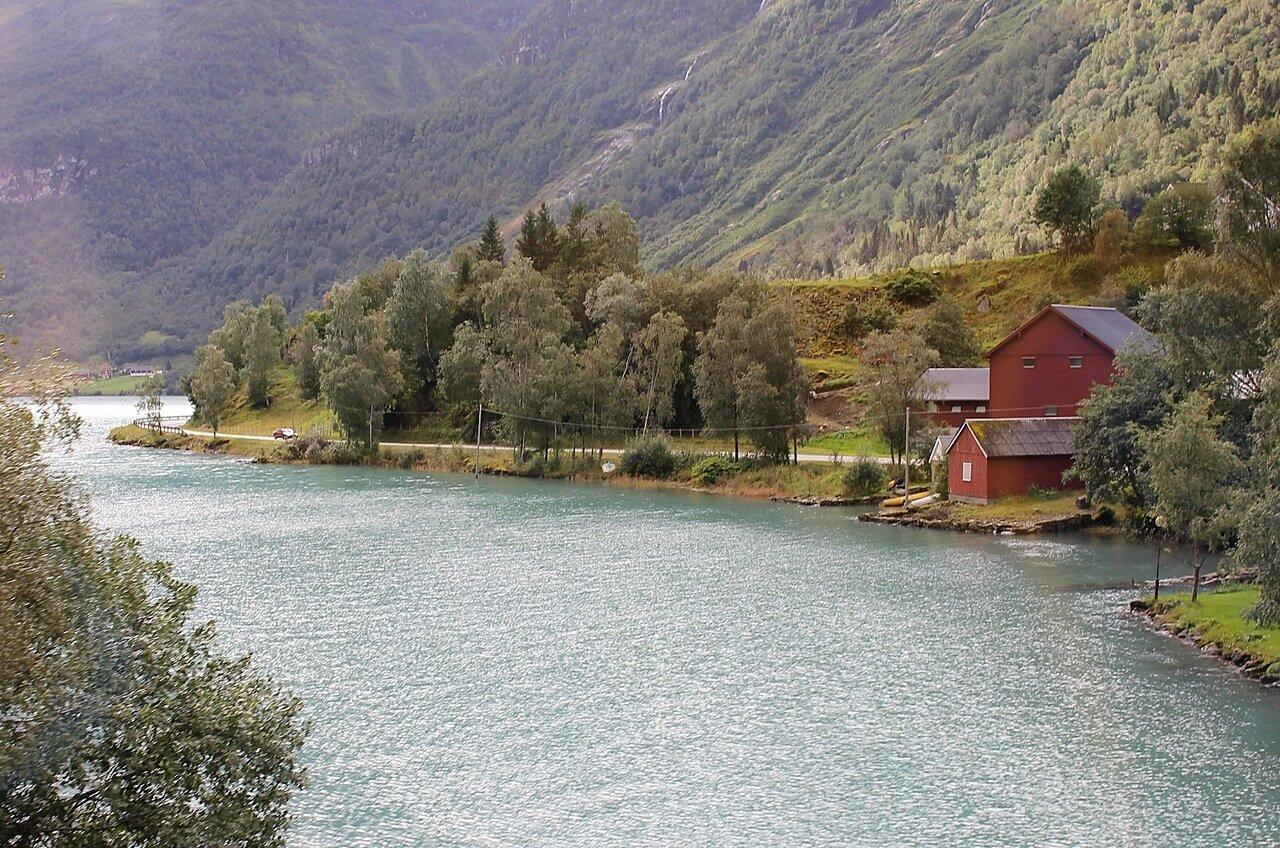 Озеро Олдеватнет, пролив Миндре Сунде, кемпинг Олдевант