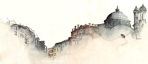 Графический дизайнер Sunga Park. Великолепно-воздушная архитектурная акварель
