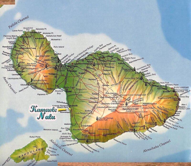 Гавайские острова. Карта острова Мауи (англ.)4.jpg