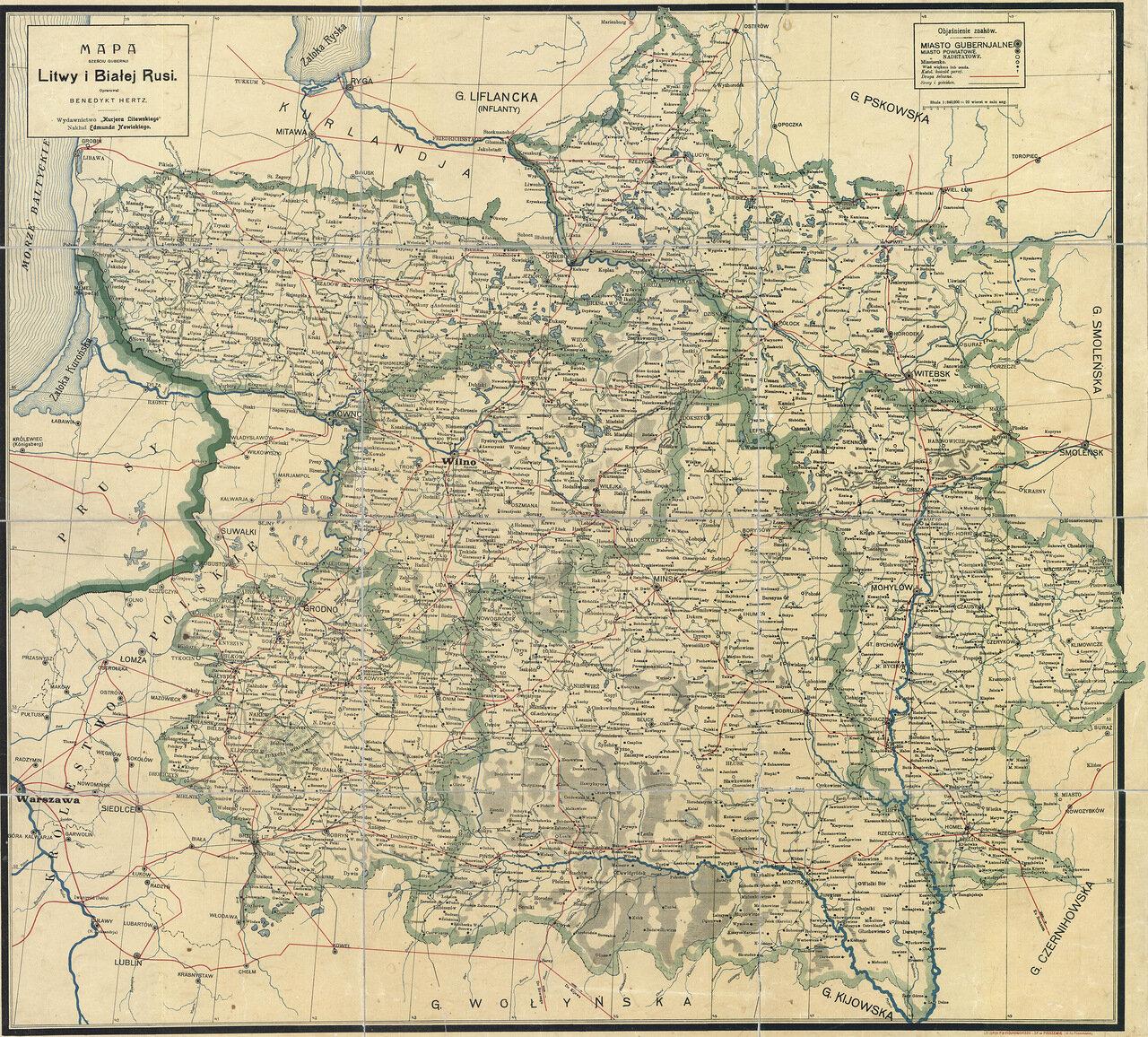 Карта Литвы и Беларуси 19 век