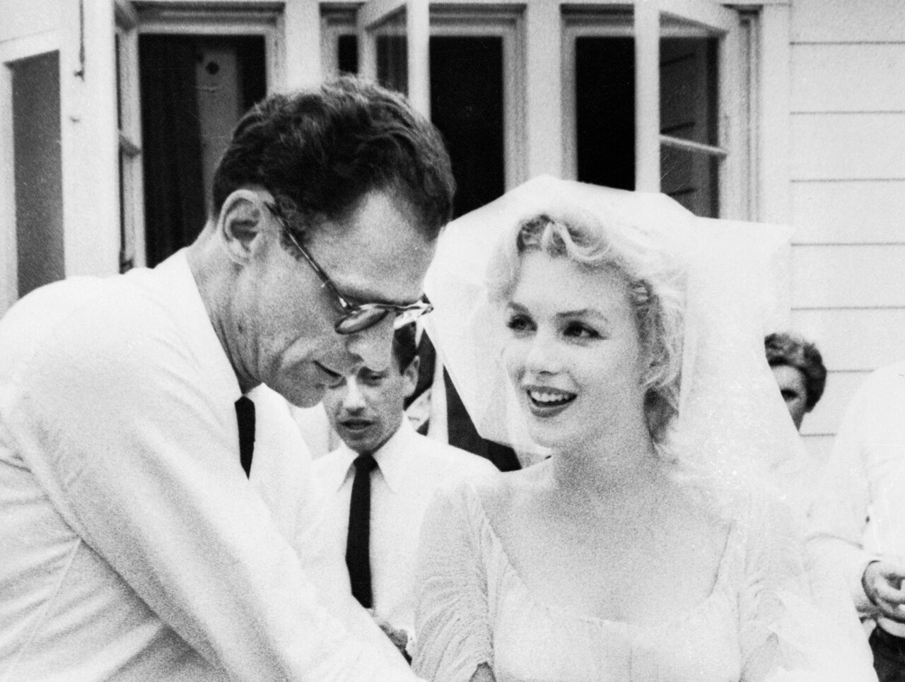 Actress Marilyn Monroe and Arthur Miller on Wedding Day