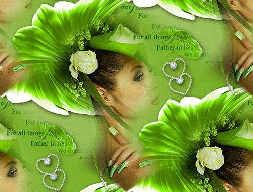 девушка в зелёном(фон)