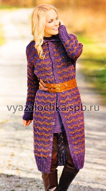 Пальто с зигзагообразным узором спицами