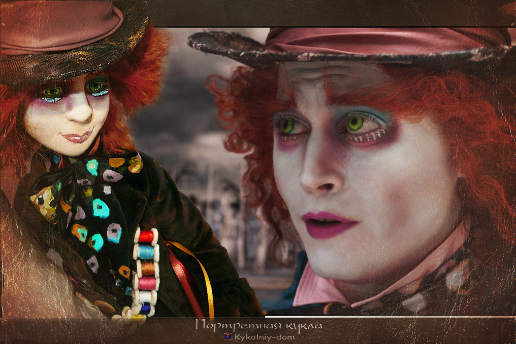 """Портретная кукла Джонни Депп Шляпник из фильма """"Алиса в Стране Чудес"""" ., Портретная текстильная кукла, кукла с портретным сходством, кукла по фото, шарж кукла, текстильная скульптура, текстильная кукла, интерьерная кукла, шарнирная кукла, характерные куклы"""