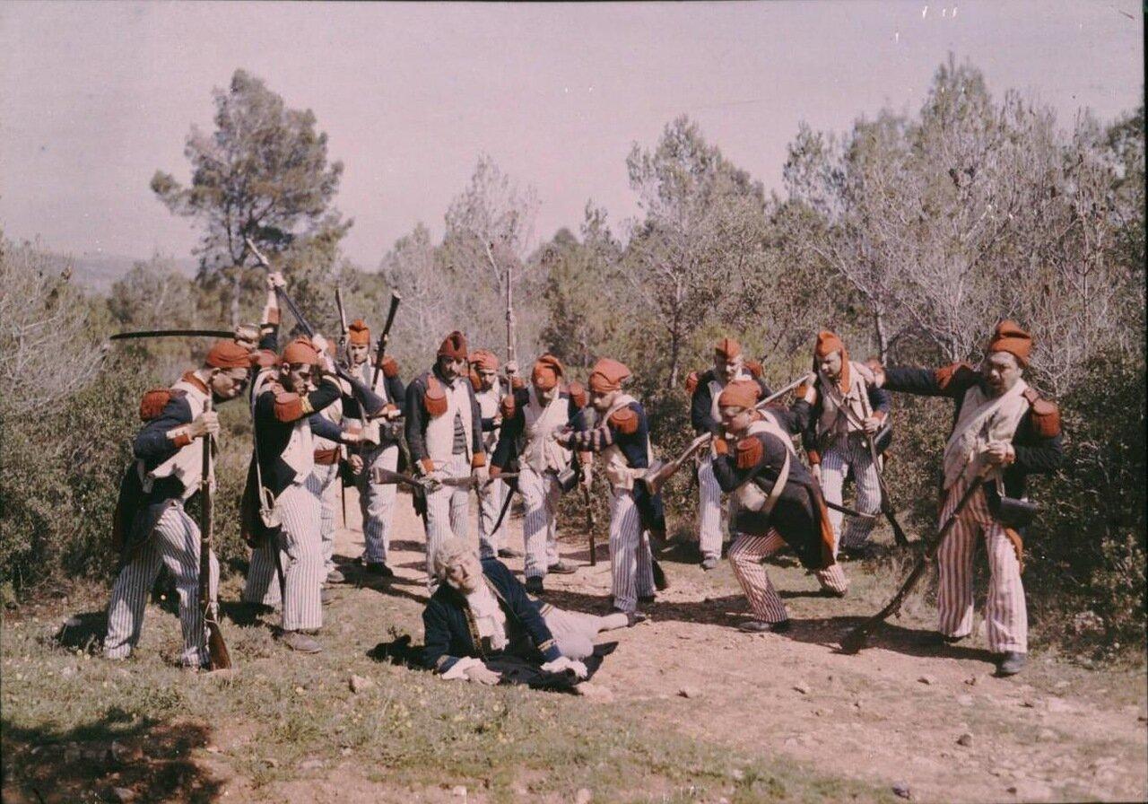 1907. Съемки сцены нападения санкюлотов на аристократа
