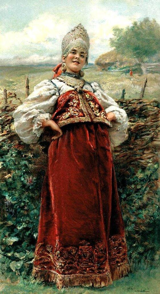 Константин Егорович Маковский Картина У околицы. 1890-ые