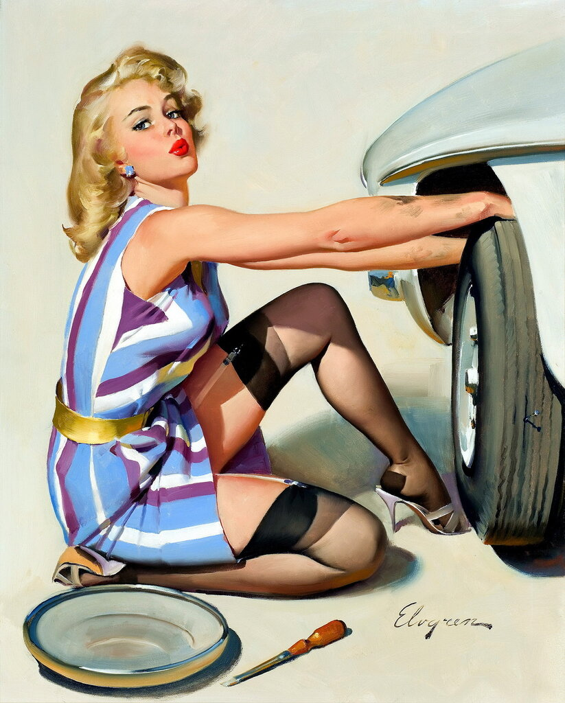 Gil Elvgren (1914-1980) - Quick Change, 1967