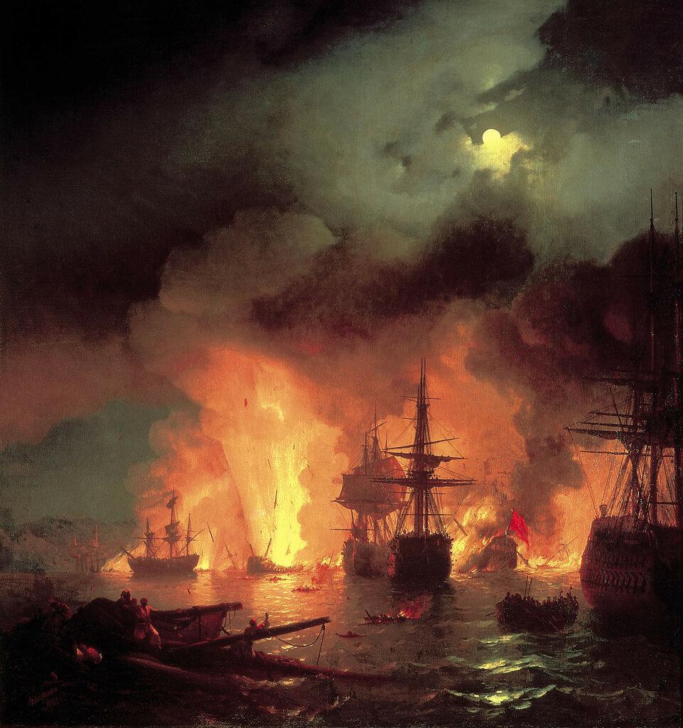 Чесменский бой 25-26 июня 1770 года. 1848. Холст, масло.jpg