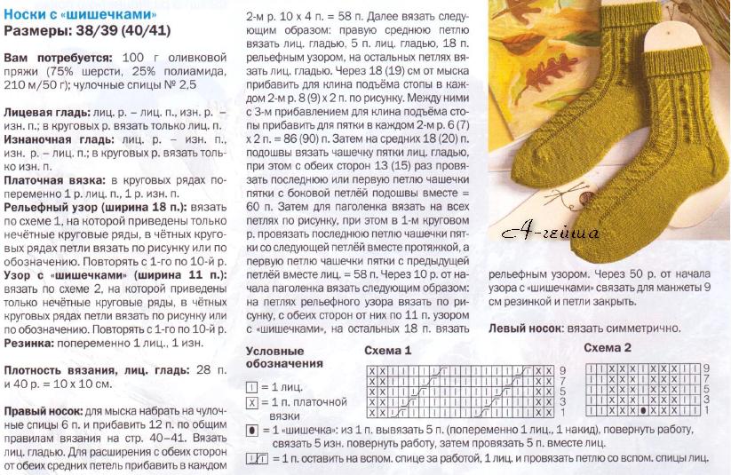Вязаные носочки спицами схемы и описание