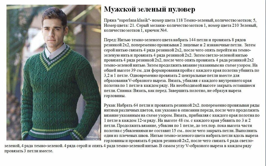 Мужское вязание спицами модели и схемы 93