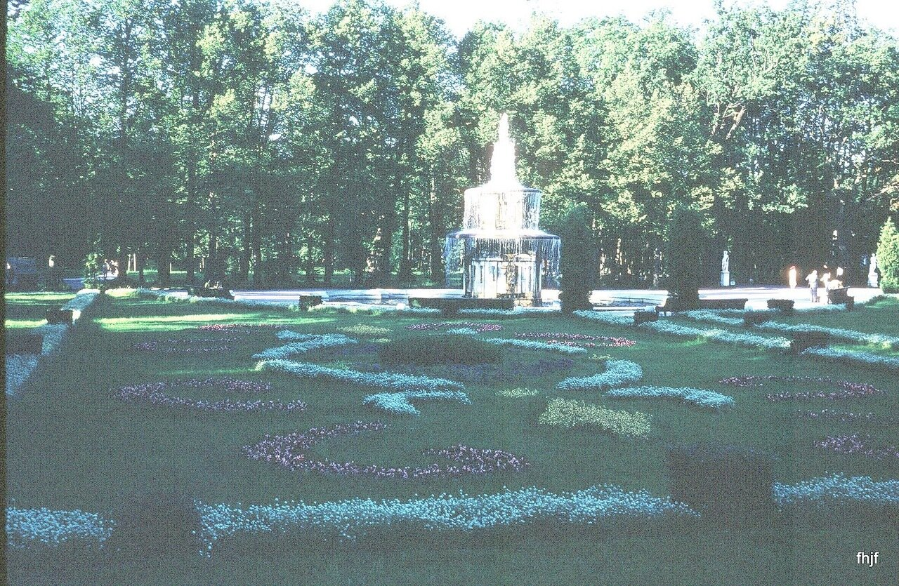 flowers with large fountain in distance
