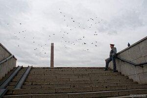 Птицы и милиционер (голубь, милиция, монумент, птица)