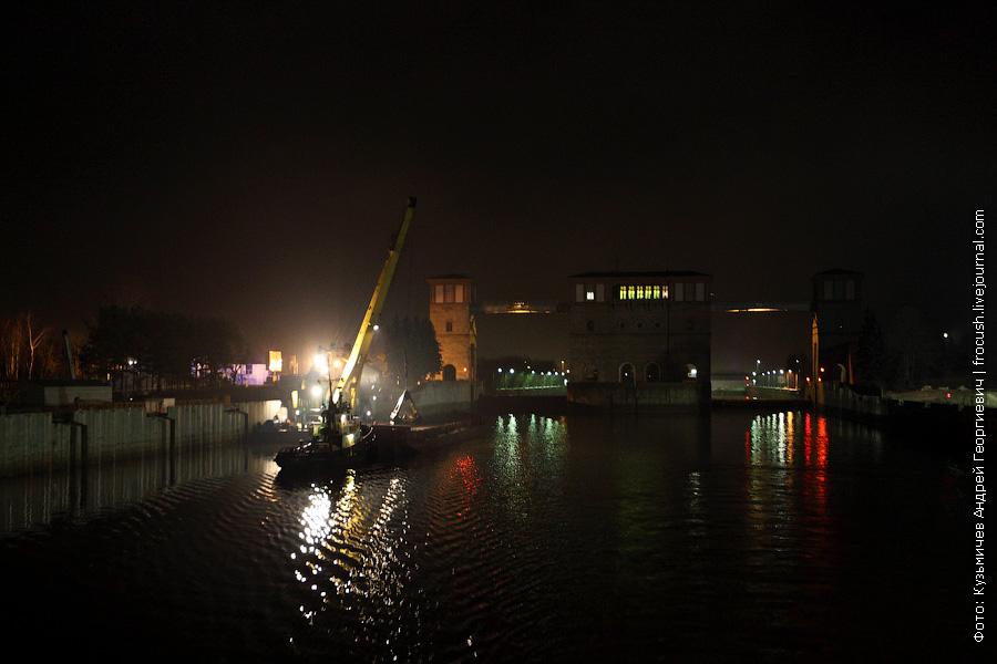 Рыбинский шлюз ночная фотография