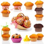 set of muffins, isolated on white background.