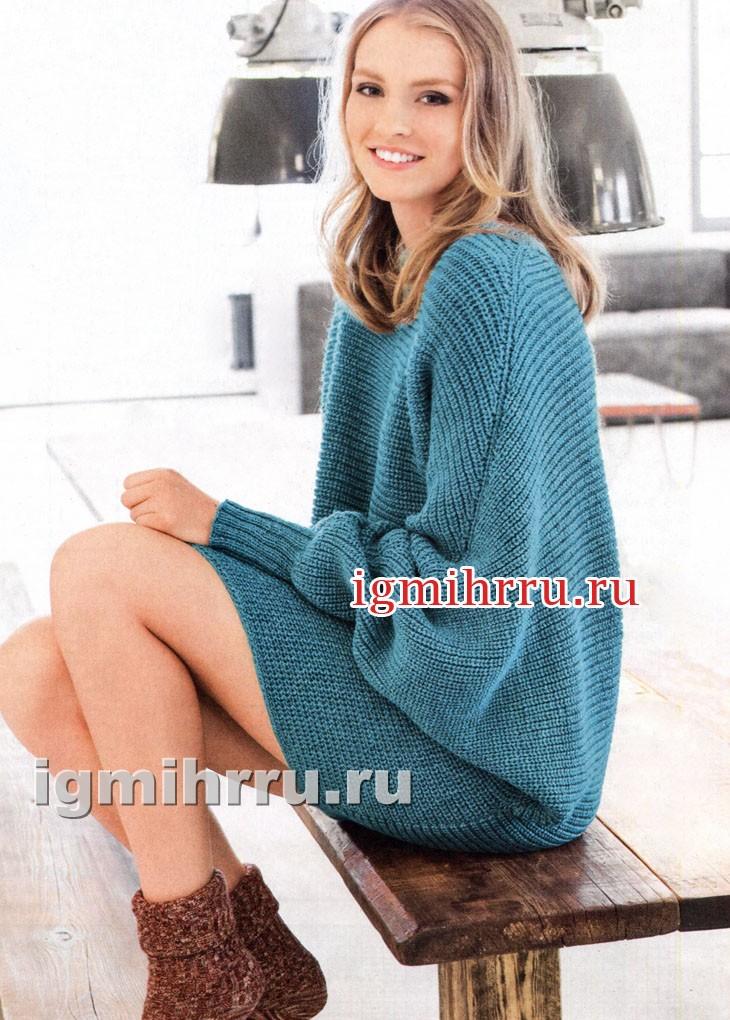 Бирюзовый пуловер-кимоно с полупатентным узором. Вязание спицами