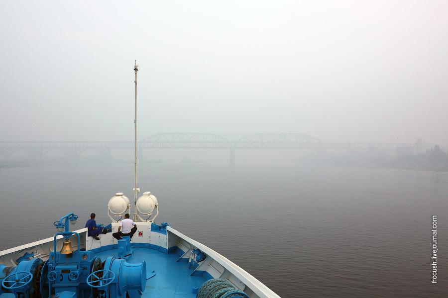Медленно подходим к Нижнему Новгороду. Смог.