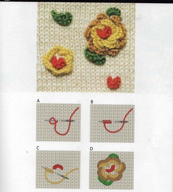 Вышивка на вязаном спицами полотне