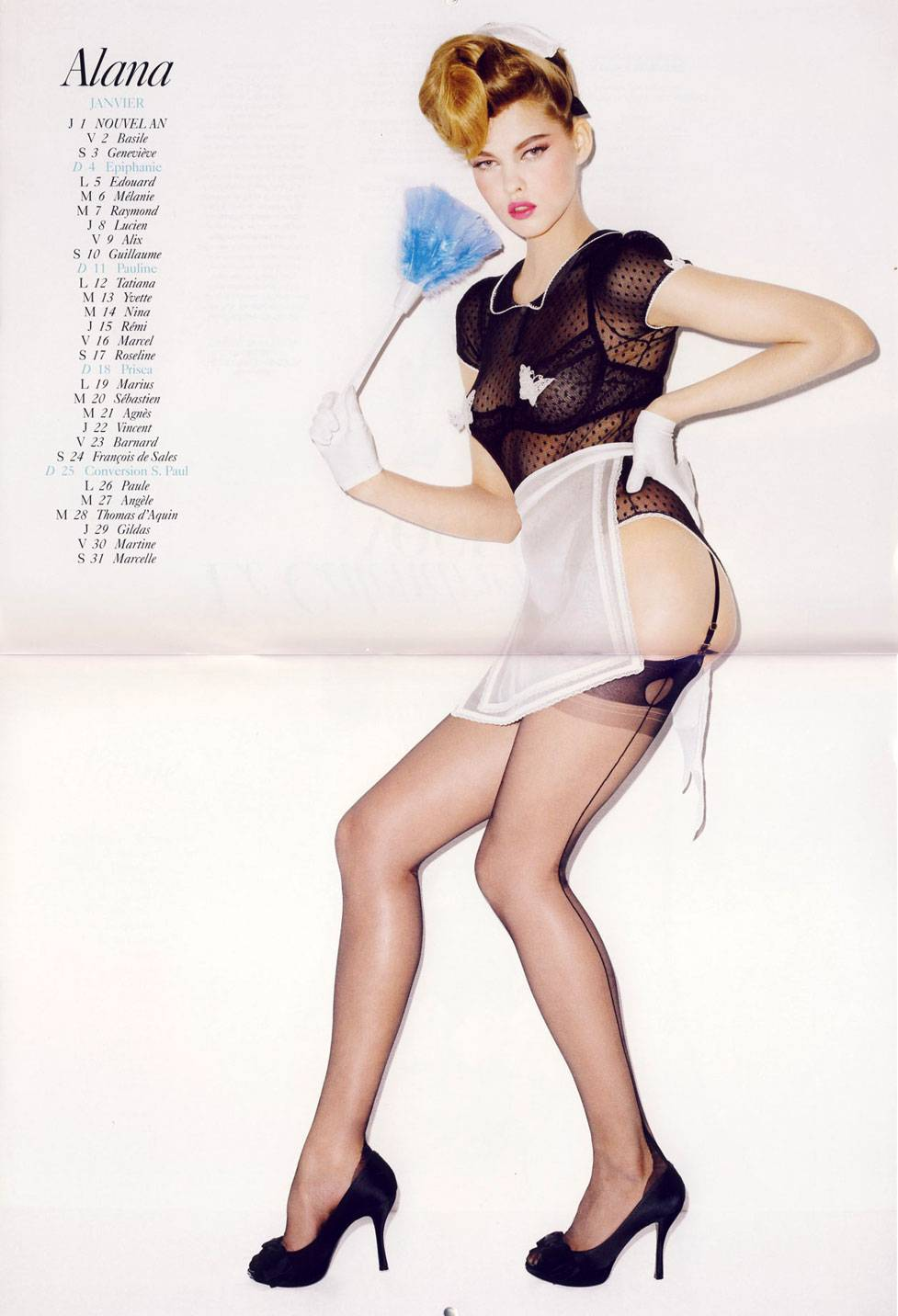 French Vogue 2009 calendar by Terry Richardson - январь. Alana