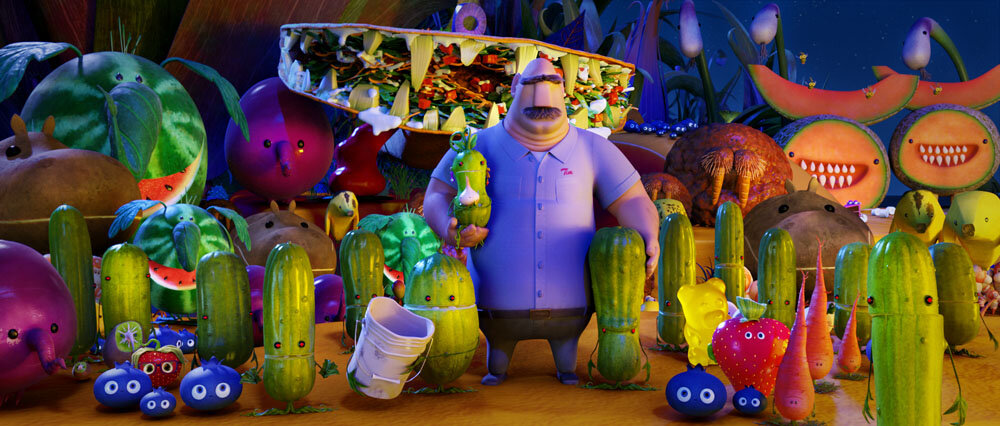Tim (James Caan) with an assortment of Foodimals in Sony Pictures Animation's CLOUDY WITH A CHANCE OF MEATBALLS 2.
