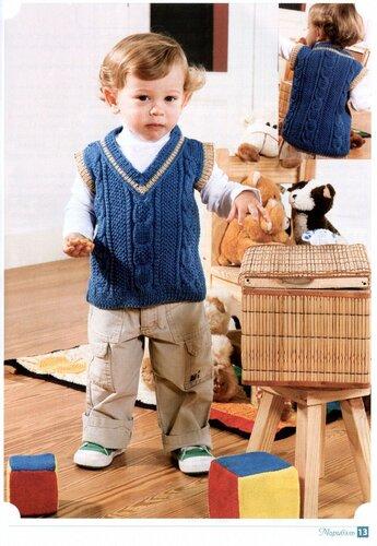 Вязание спицами - описание детской жилетки вязаной спицами, схема к детской жилетке вязаной спицами.