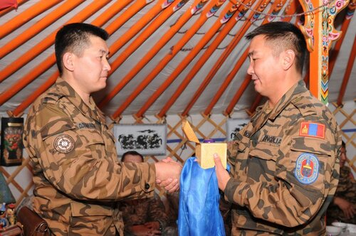 New Rotation of Mongolian Soldiers Transfer Authority in Kabul