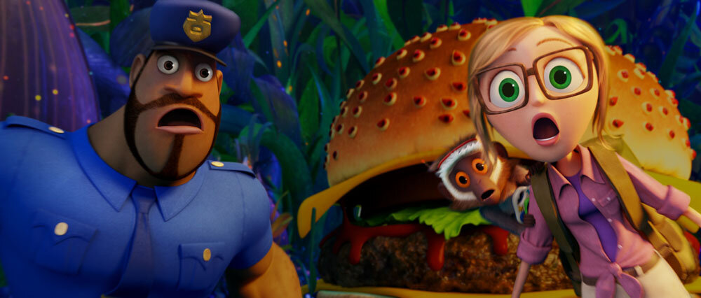 Earl (Terry Crews), Steve (Neil Patrick Harris) and Sam (Anna Faris) with Cheespider looking on in Sony Pictures Animation's CLOUDY WITH A CHANCE OF MEATBALLS 2.