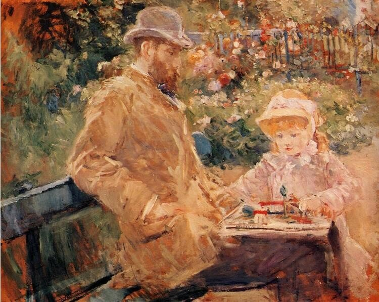 EUGENE MANET WITH HIS DAUGHTER AT BOUGIVAL (C.1881)