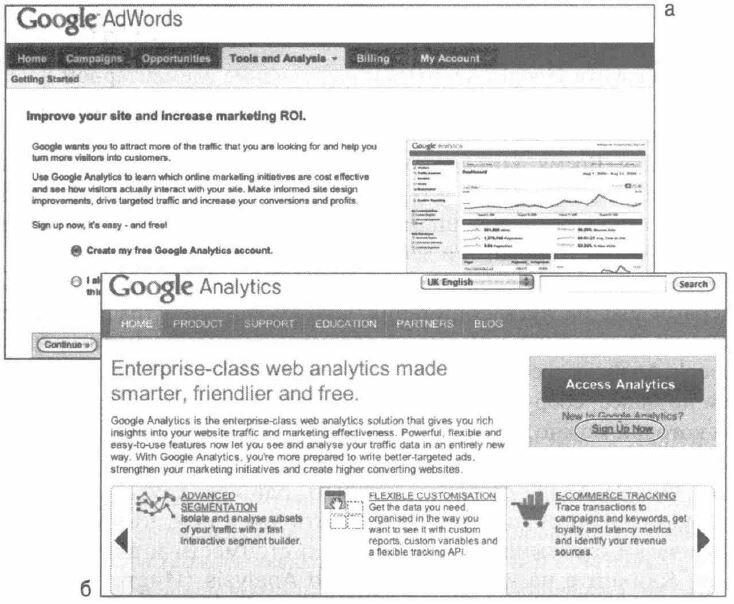Рис. 6.1. Создание аккаунта Google Analytics из (а) интерфейса AdWords или (б) посредством самостоятельного интерфейса