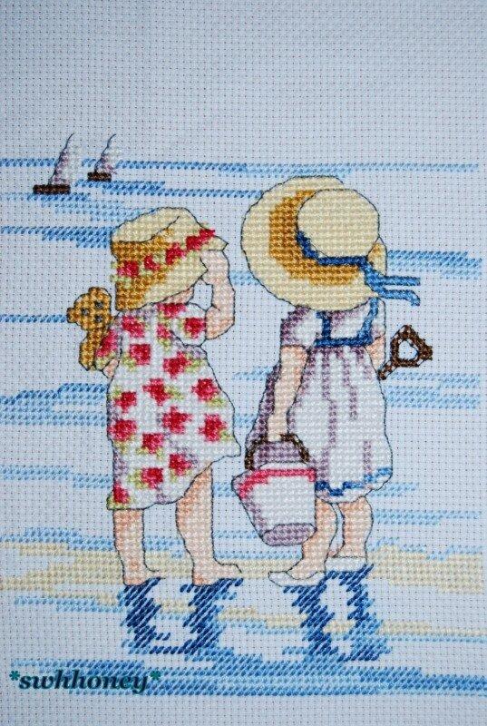 Вышивка схема девочка у моря