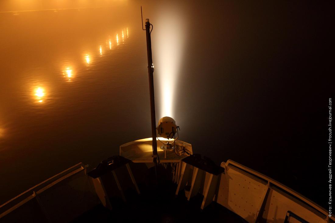 туман в Балаково на Волге ночью