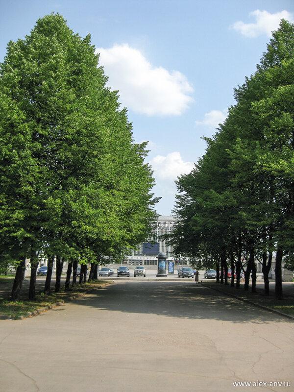 Московский парк Победы. Центральная аллея парка. С этой стороны она выходит к СКК.