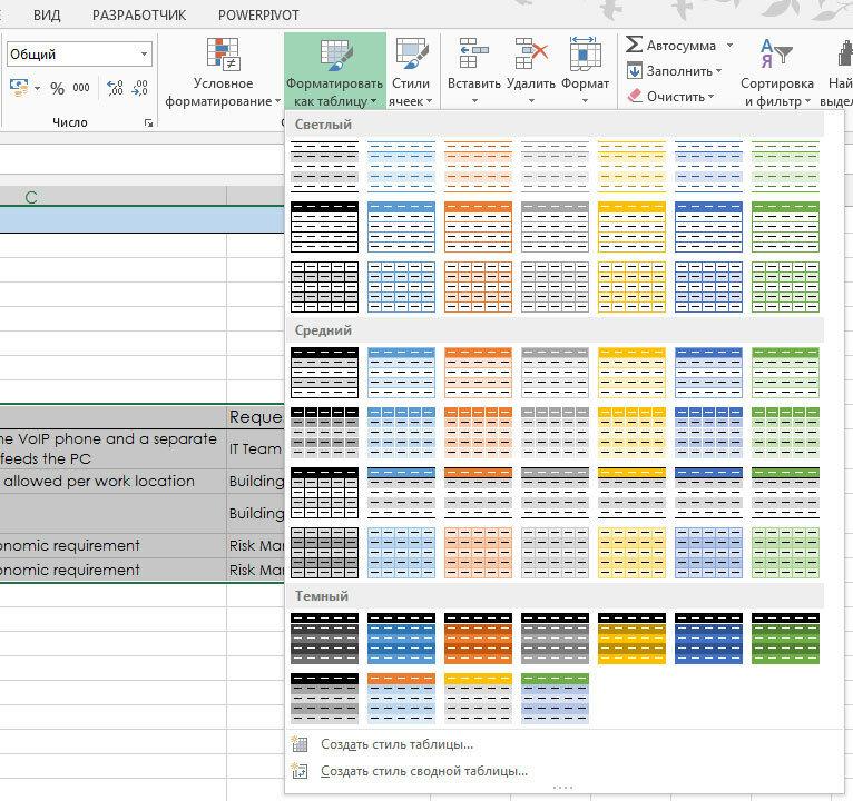 Рис. 3. Панель с несколькими предустановленными стилями форматирования электронных таблиц