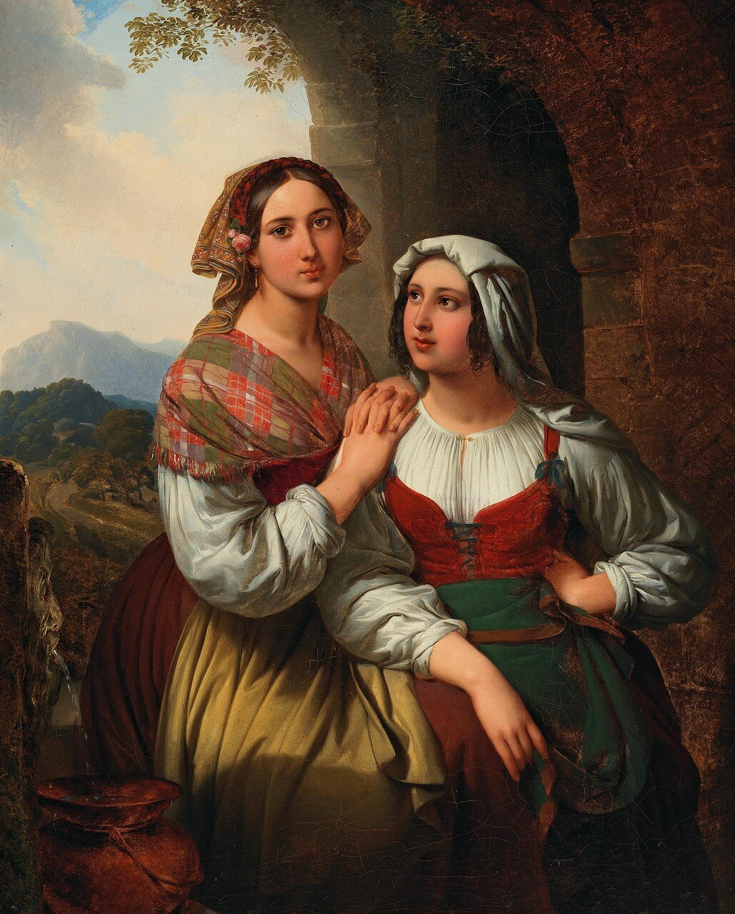 Circle of Carl von Blaas (1815–1894) Two Italian Girls in an Open Landscape